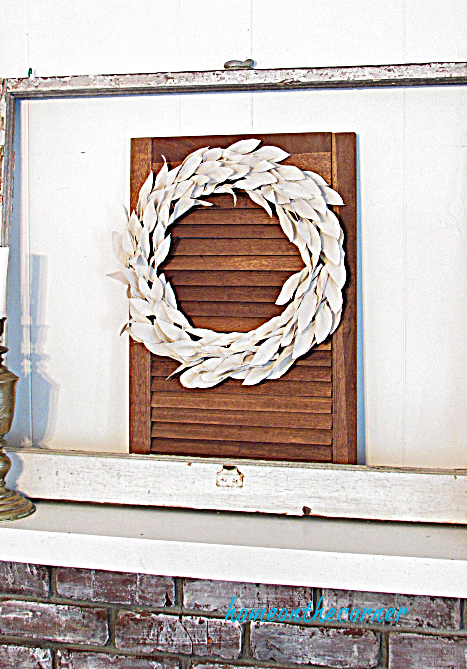 drop cloth leaf wreath white mantle