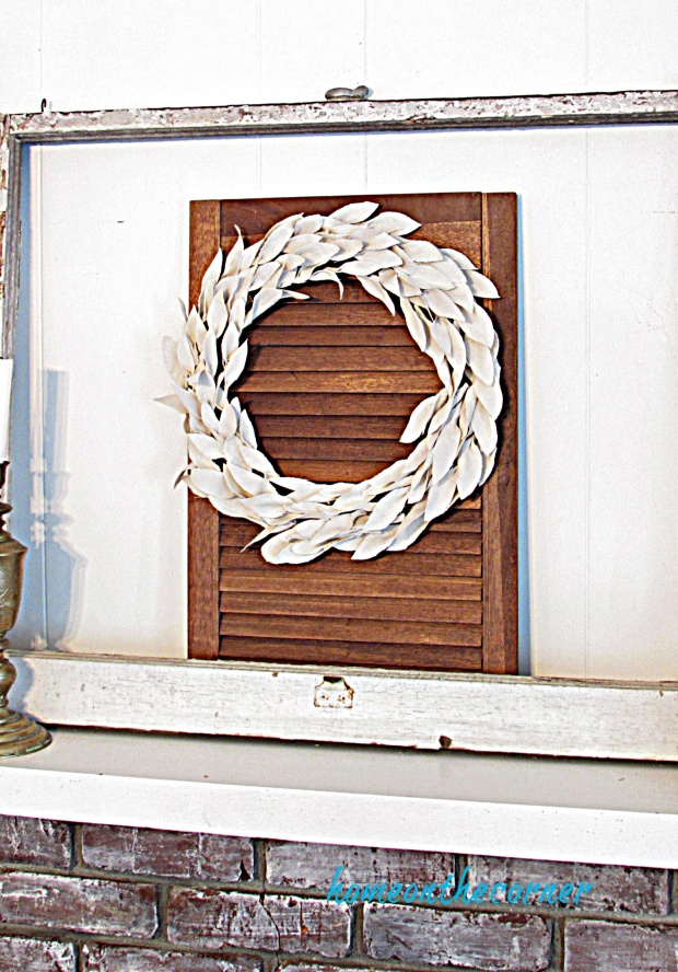 drop cloth leaf wreath white mantle