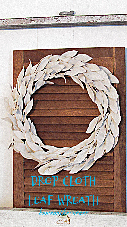drop cloth leaf wreath winter white title