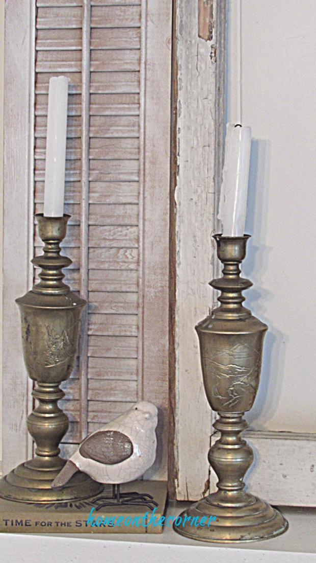 drop cloth wreath candlesticks bird