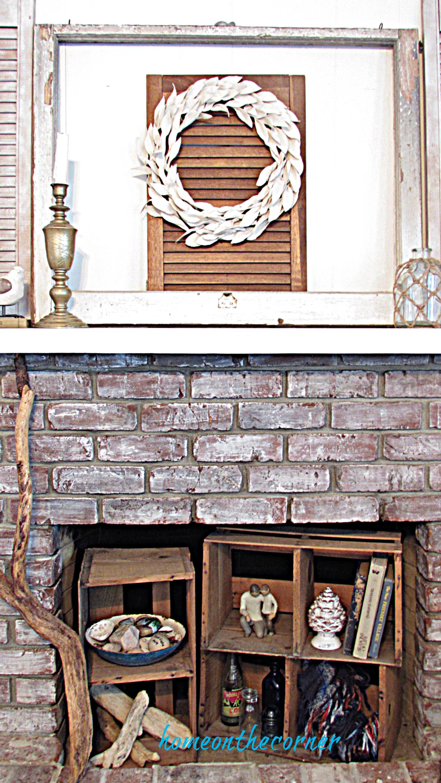 drop cloth wreath mantle fireplace