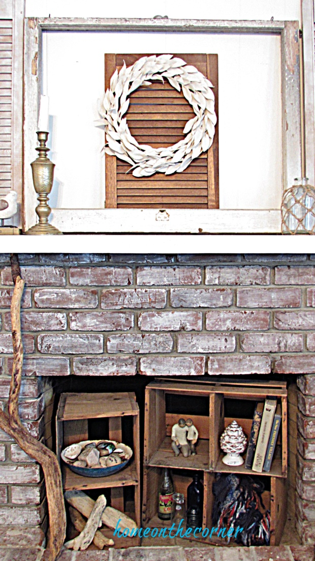 drop cloth wreath mantle fireplace