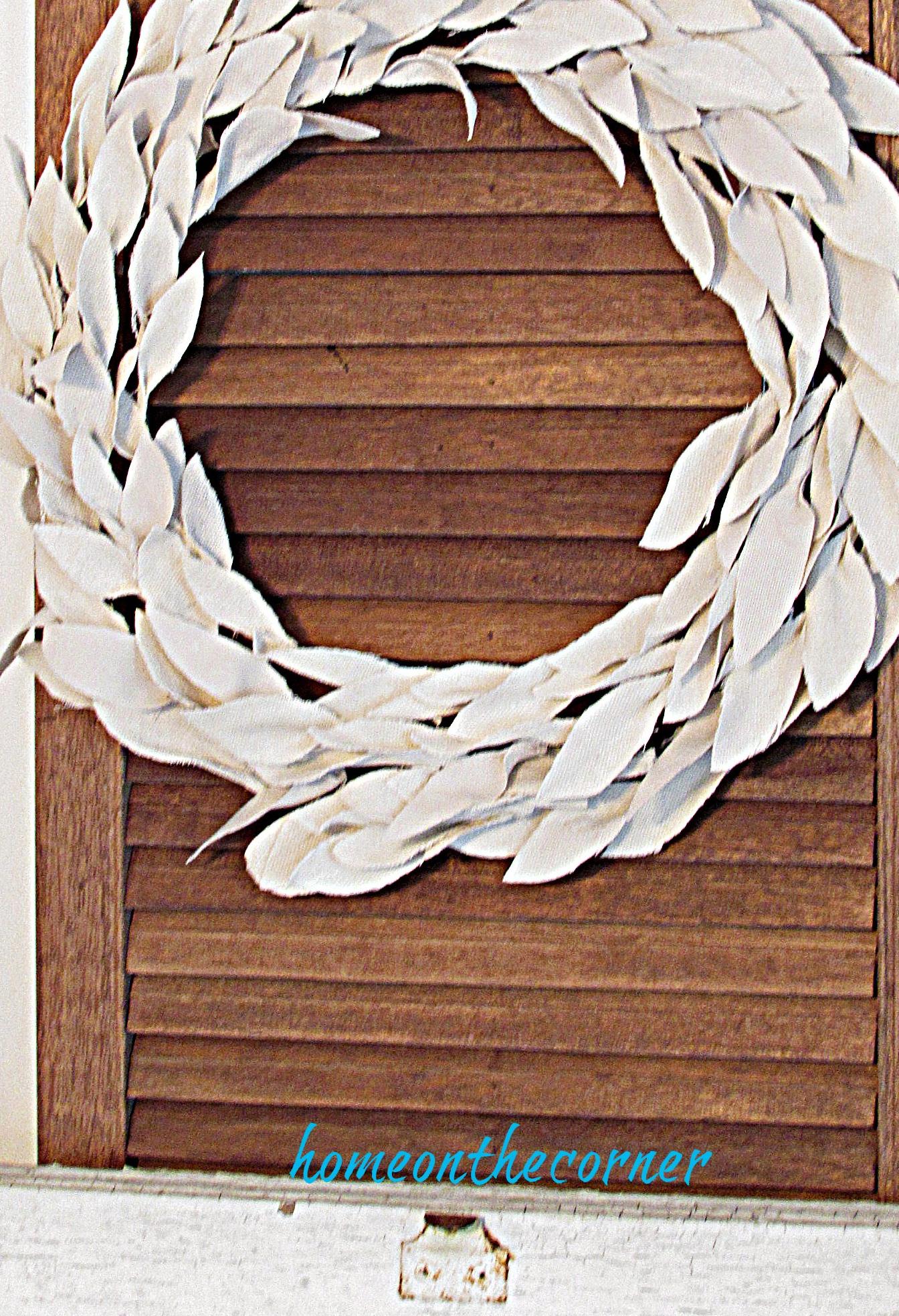 drop cloth wreath shutter