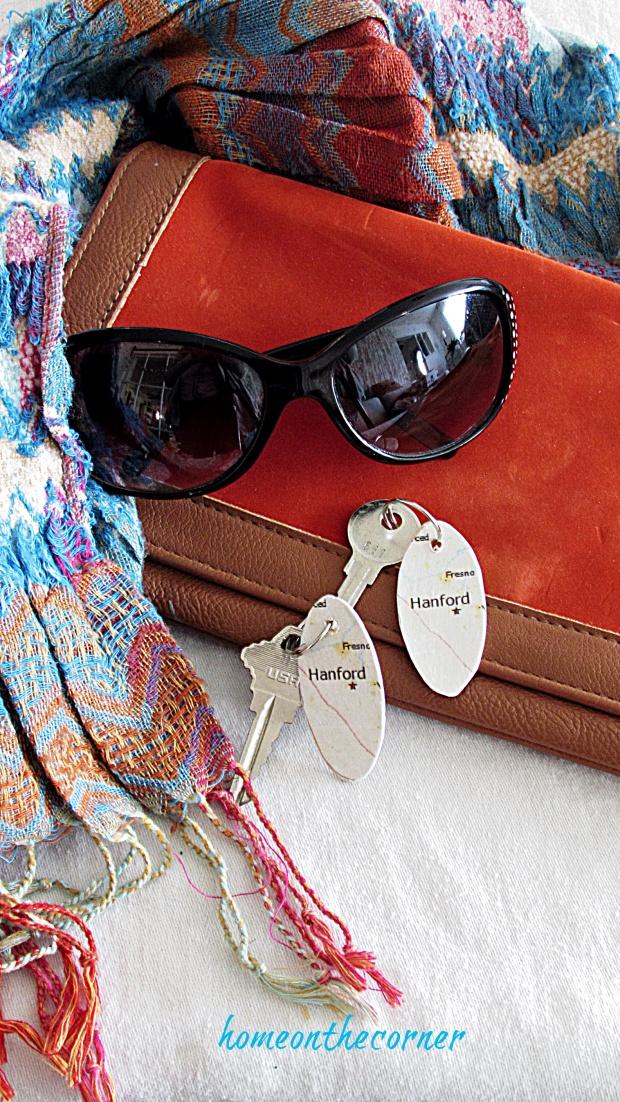 map key chain keys and sunglasses