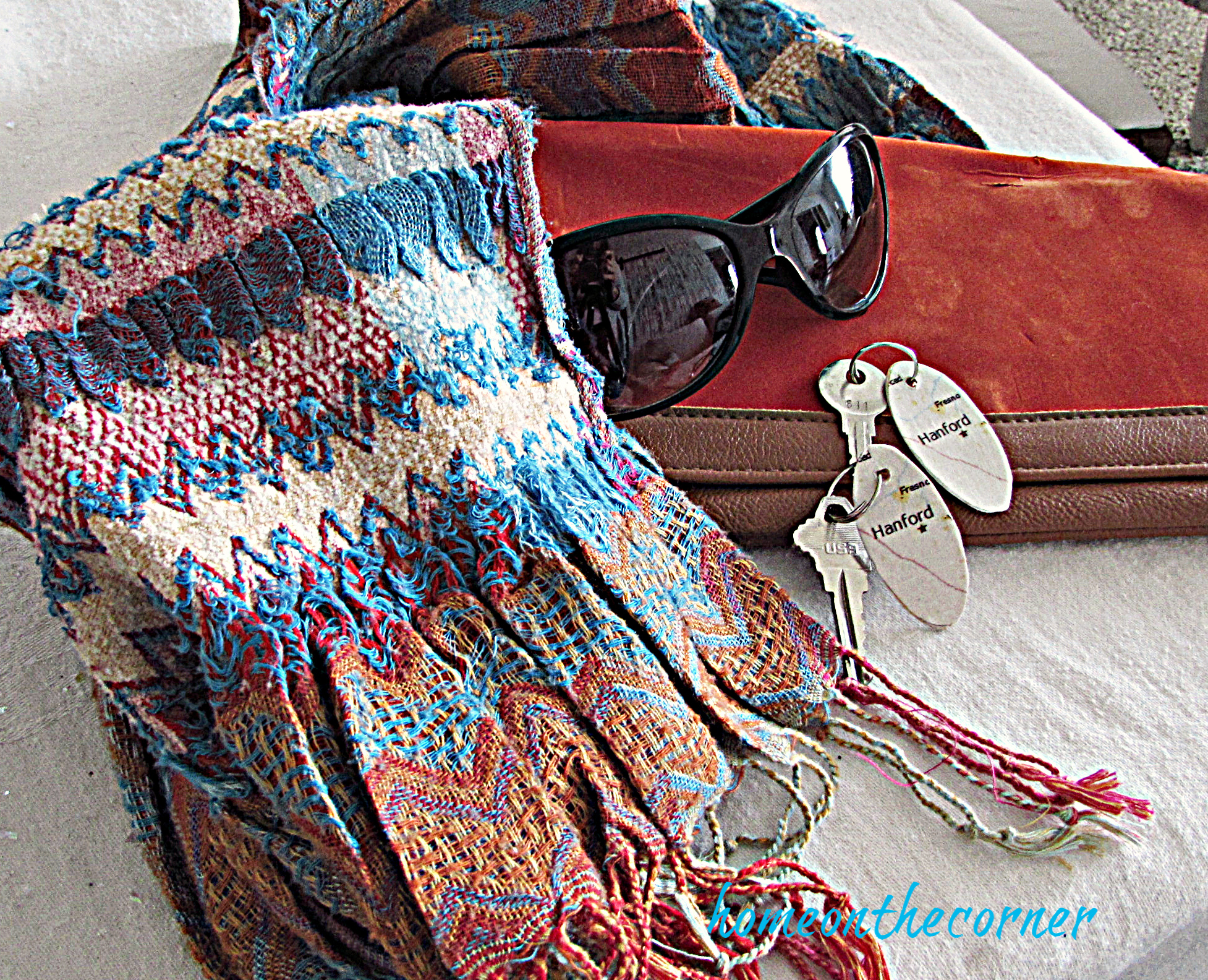 map key chain scarf orange and turquoise