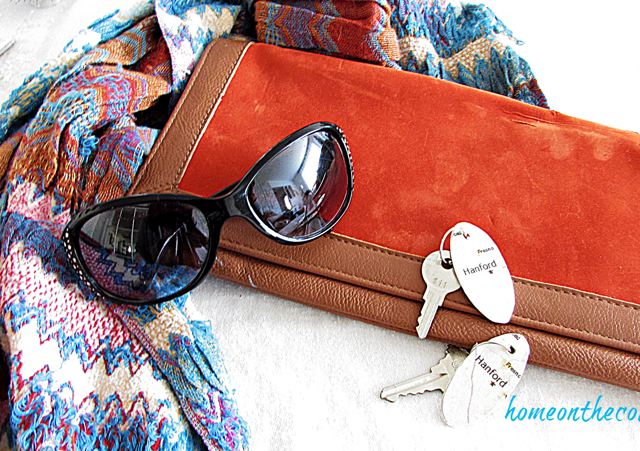 map key chain with sunglasses, purse