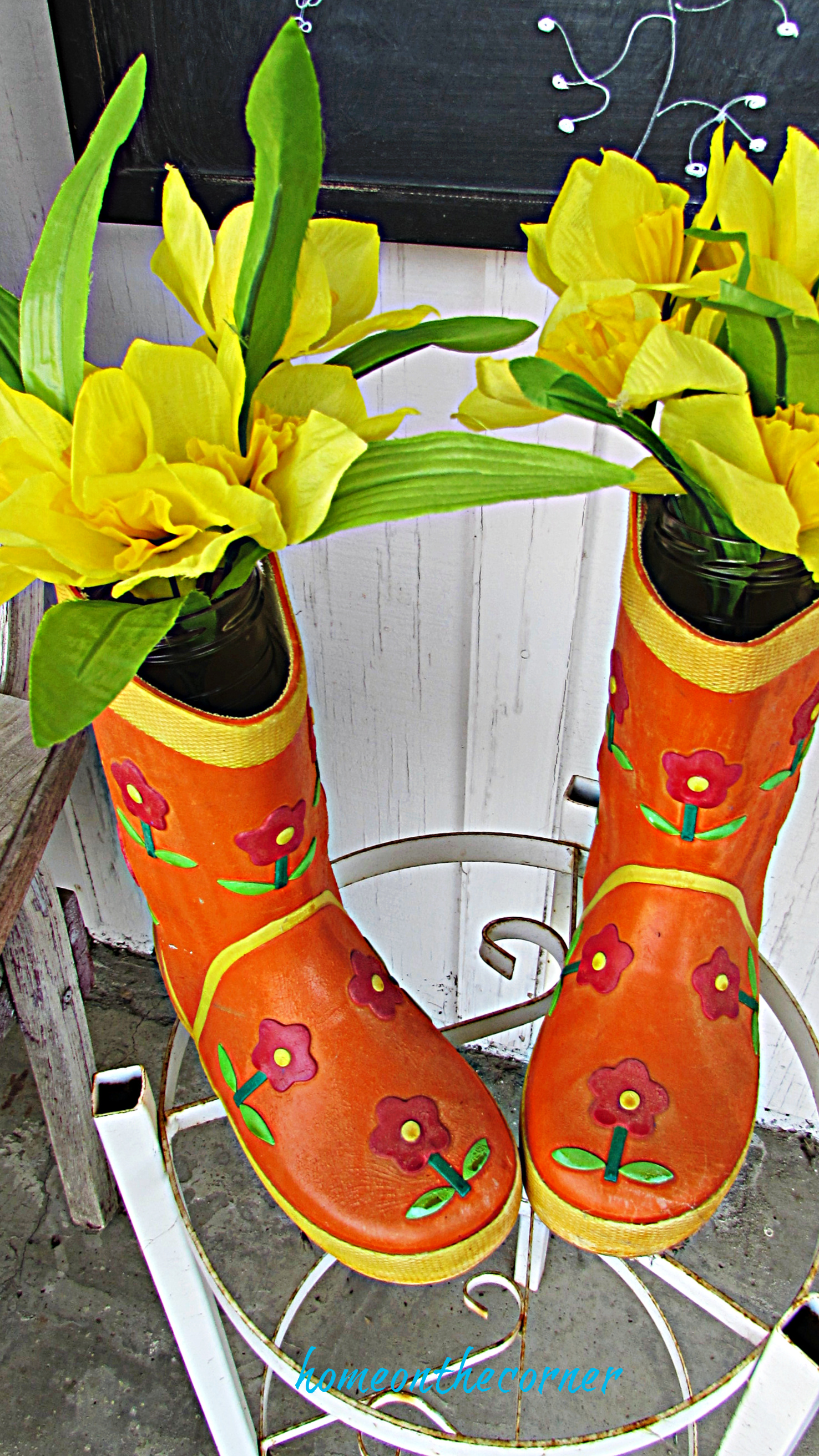spring porch childs rain boots with flowers