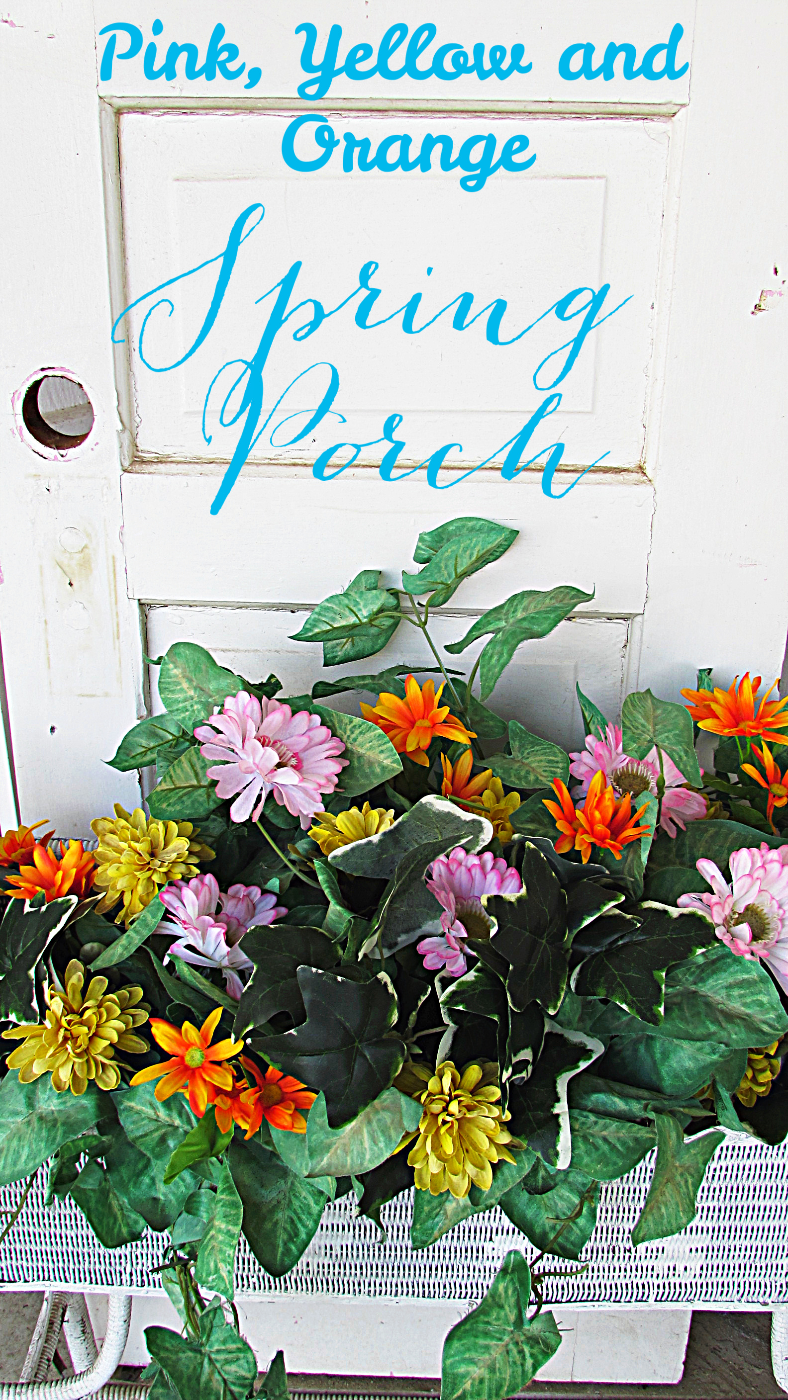 spring porch pink, yellow and orange spring porch title