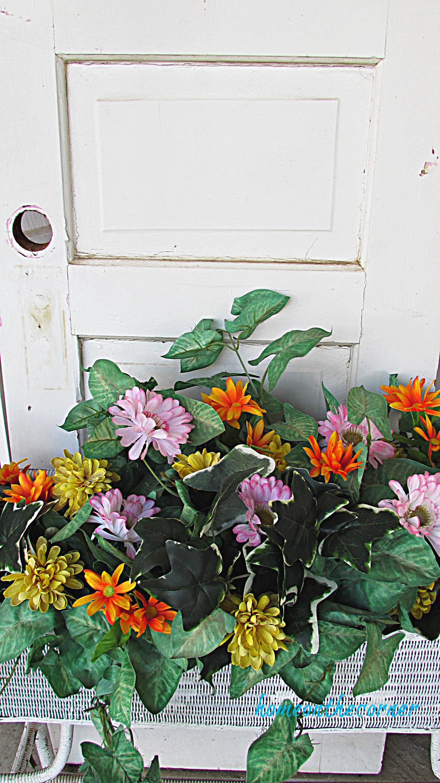 spring porch pink, yellow, orange flower box