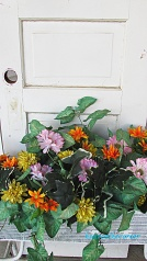 spring porch pink, yellow, orange flower box