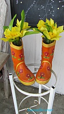 spring porch rainboots with daffodils