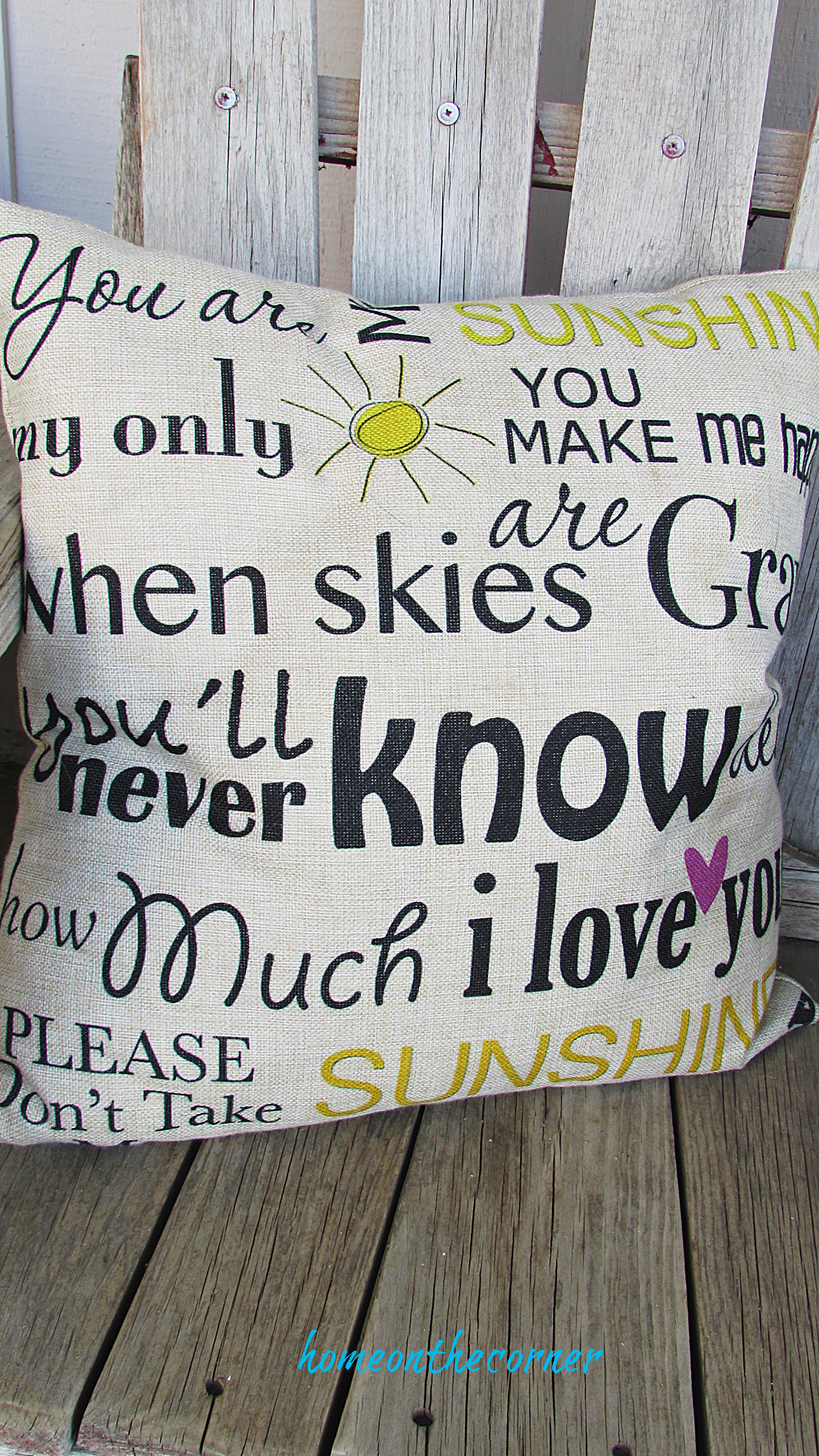 spring porch you are my sunshine pillow