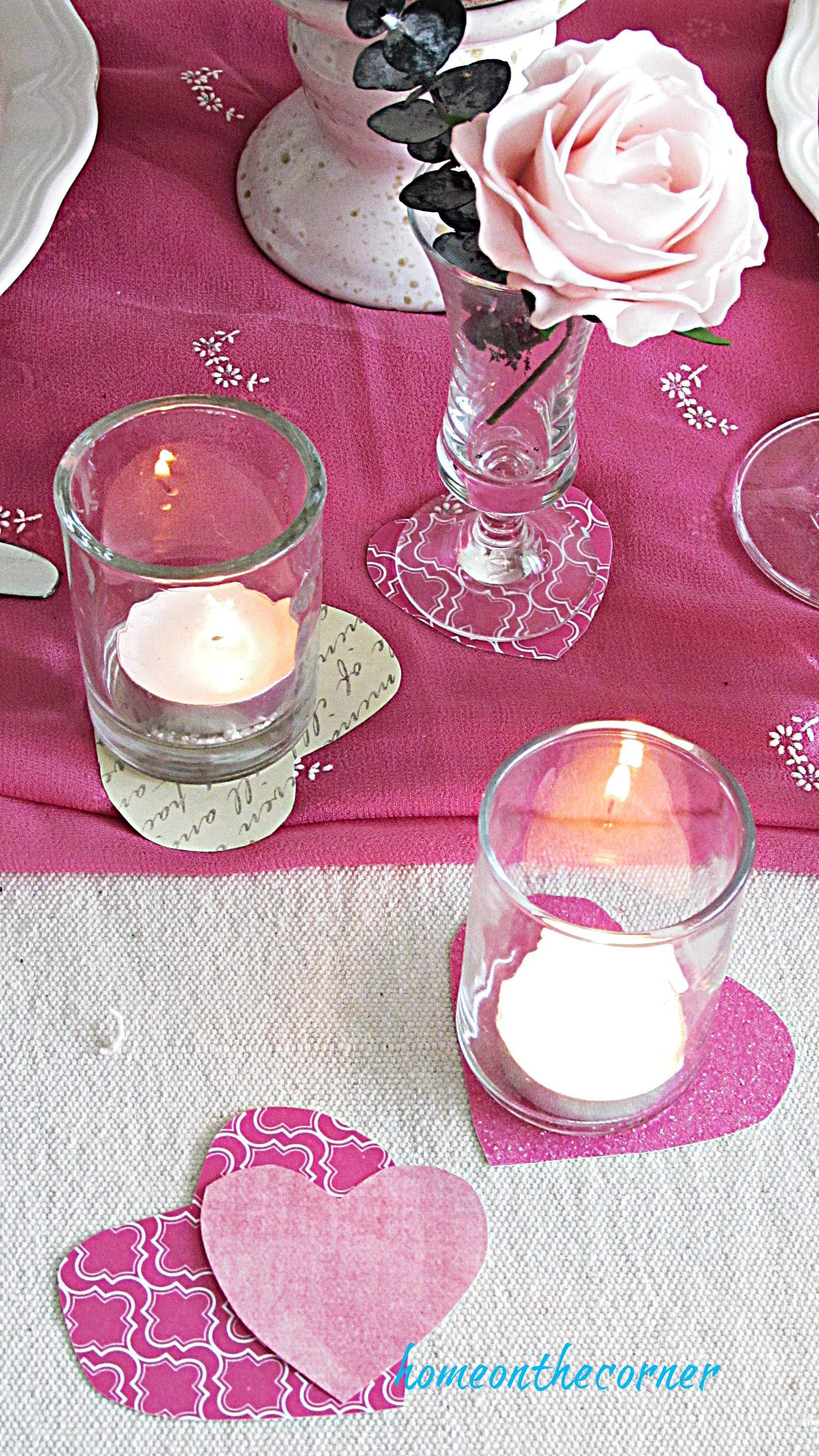 valentine tablescape candles and hearts