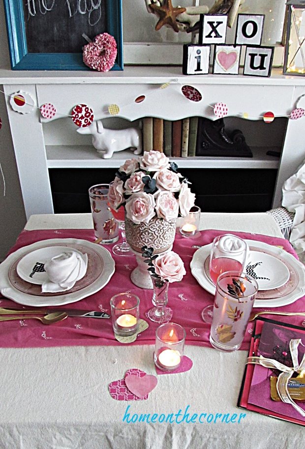 valentine tablescape candles, flowers