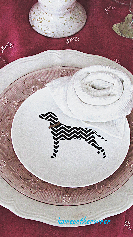 valentine tablescape chevron dog plate