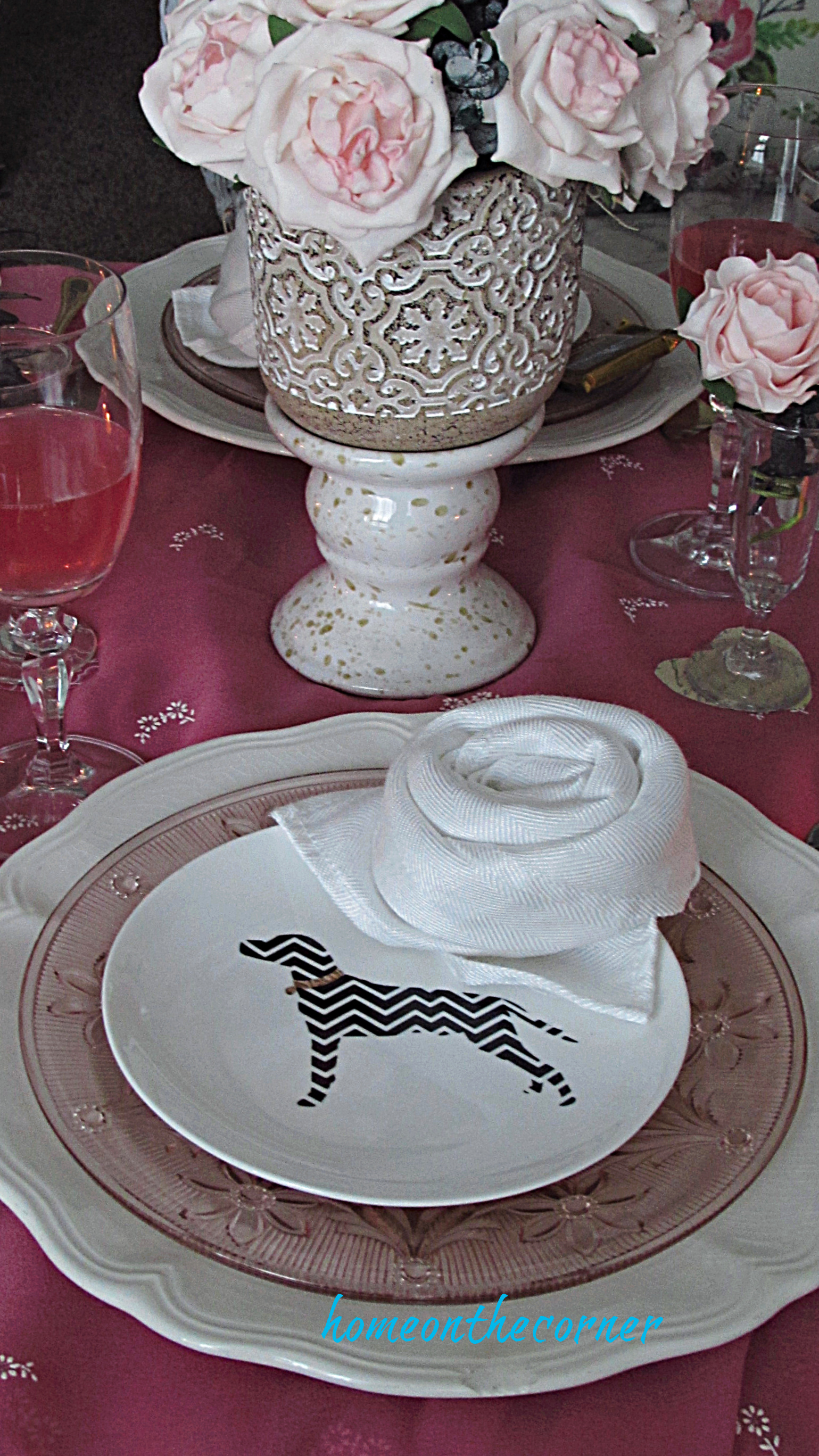 valentine tablescape dog plate rose napkin
