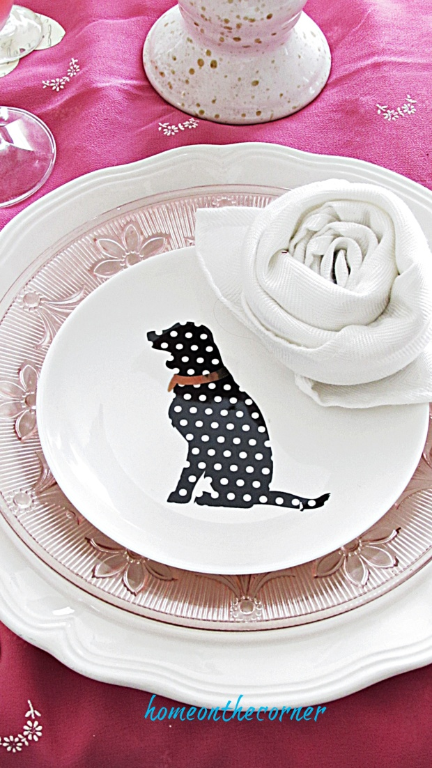 valentine tablescape dog plate
