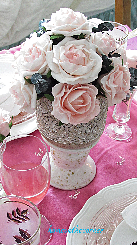 valentine tablescape faux pink roses centerpiece