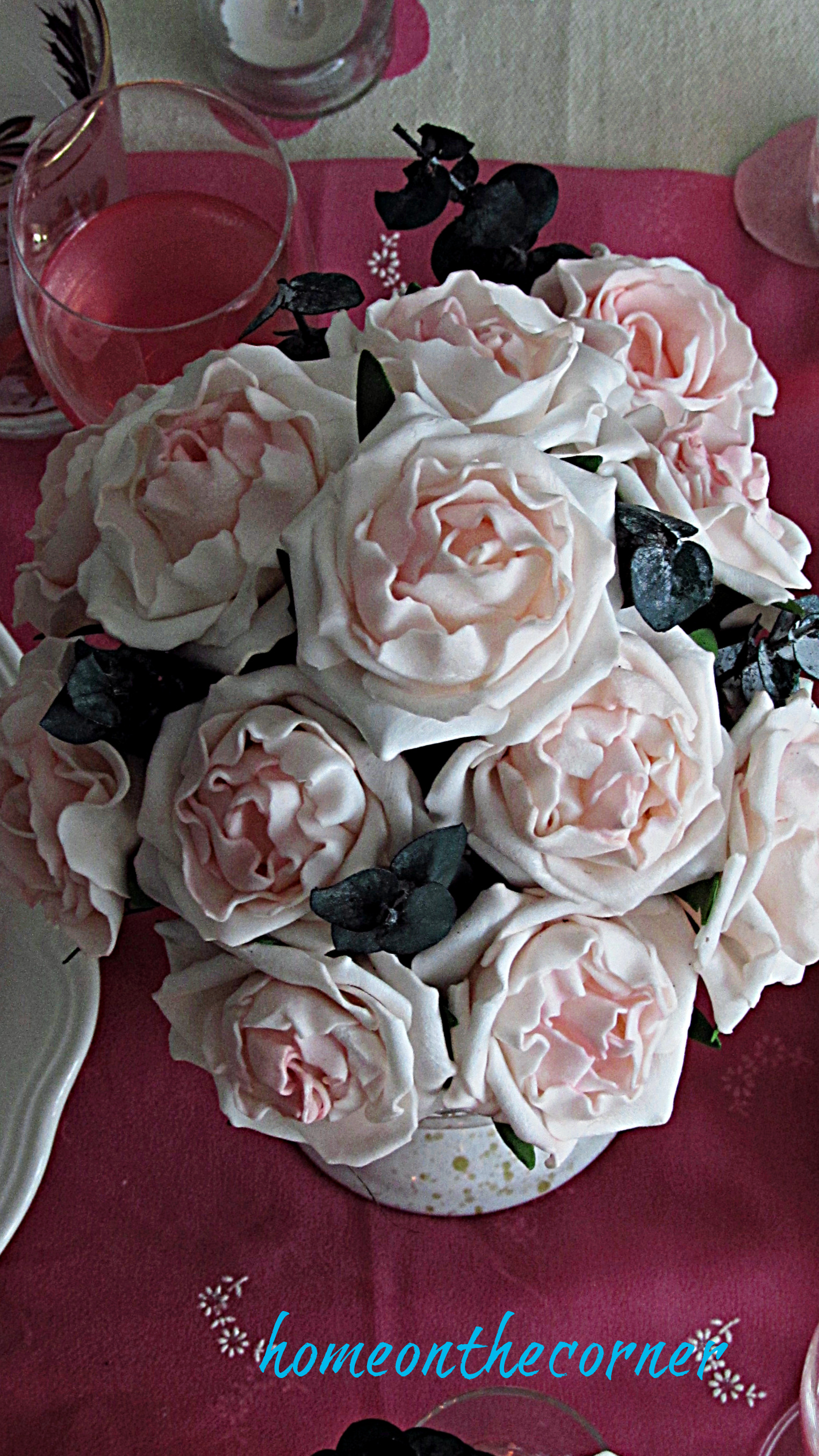 valentine tablescape faux rose centerpiece