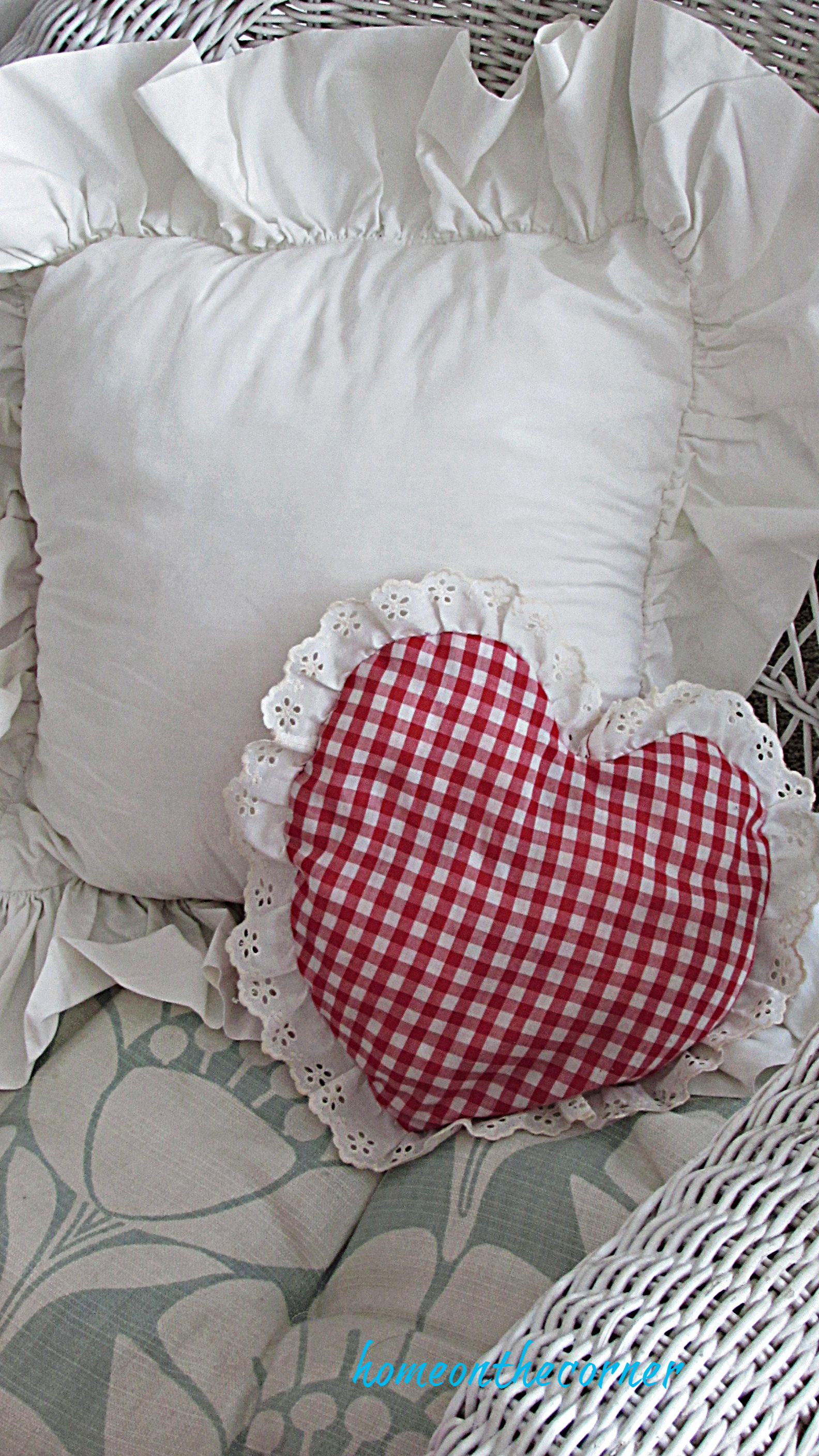valentine tablescape heart pillow