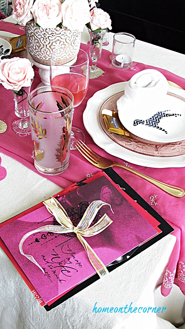 valentine tablescape letters and cards