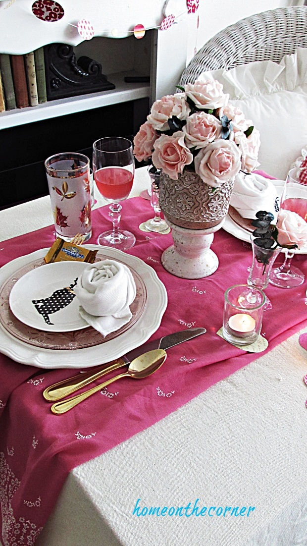 valentine tablescape pink, white and gold