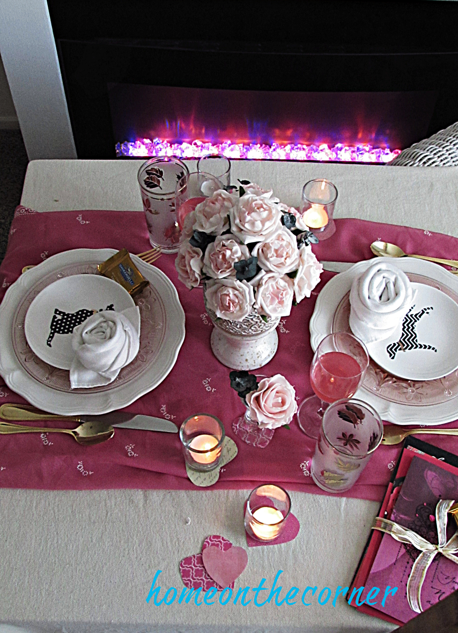 valentine tablescape rose centerpiece