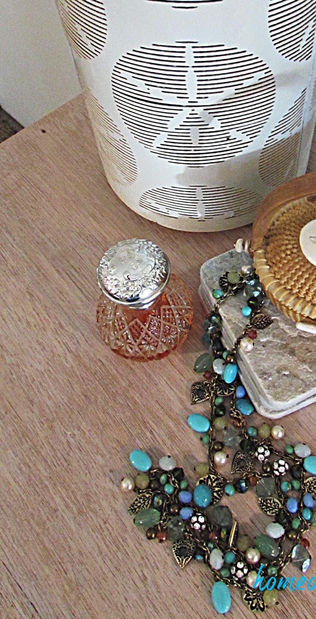 master bedroom dresser seashell candle holder necklace