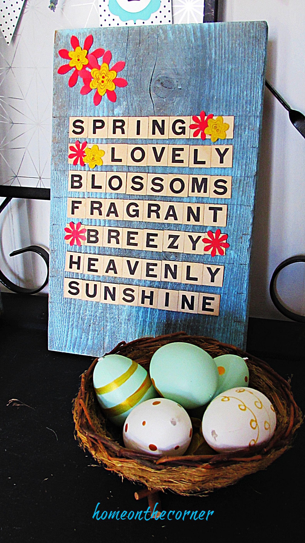 scrabble letters spring lovely blossoms