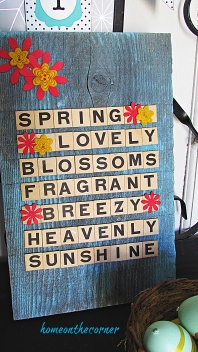 scrabble tile letters turquoise spring