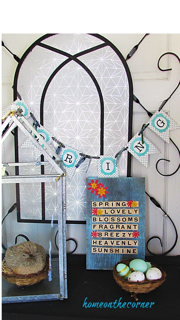 scrabble tile spring sign