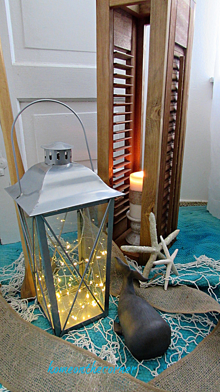 shutter lantern candle holder varnish