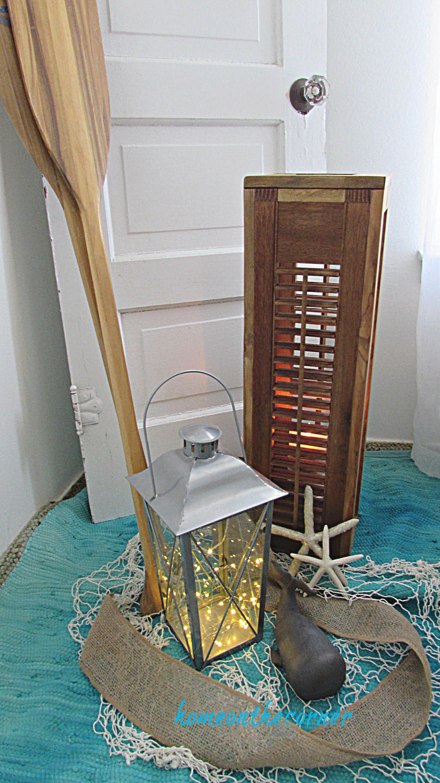 shutter lantern coastal vignette diy