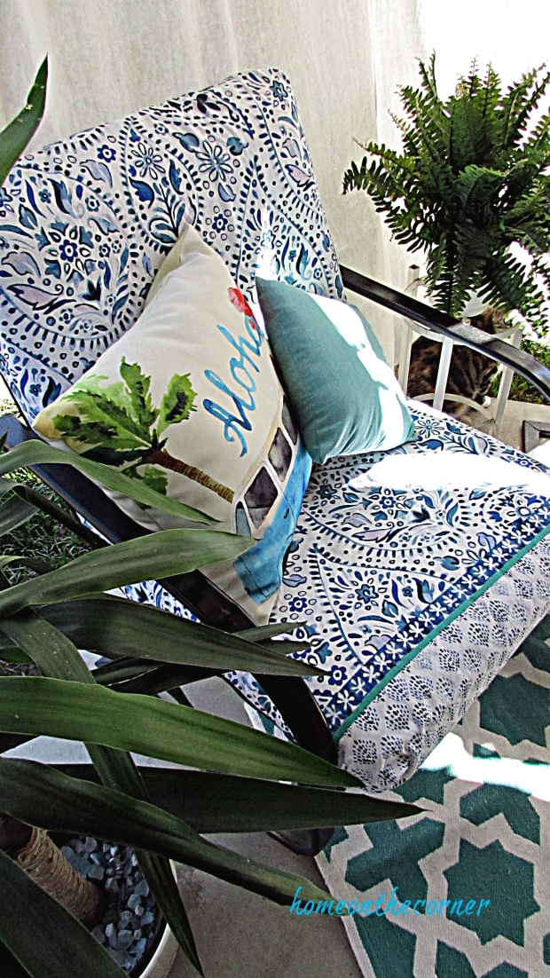 outdoor patio cushions recovered blue and white