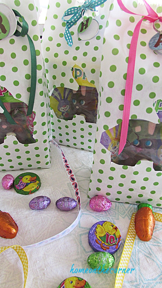 Polka Dot Easter Bag Bunny and candy