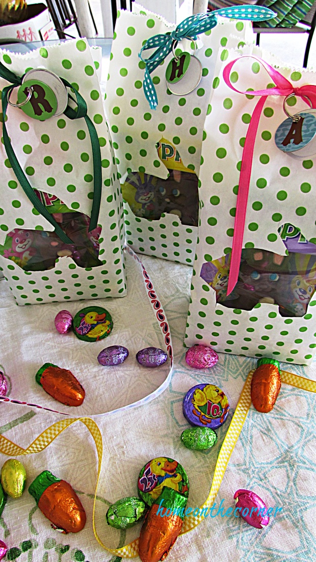 Polka Dot Easter Bag Candy and Ribbon