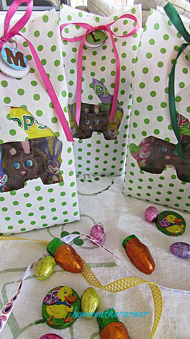 Polka Dot Easter Bag Candy chocolate bunny