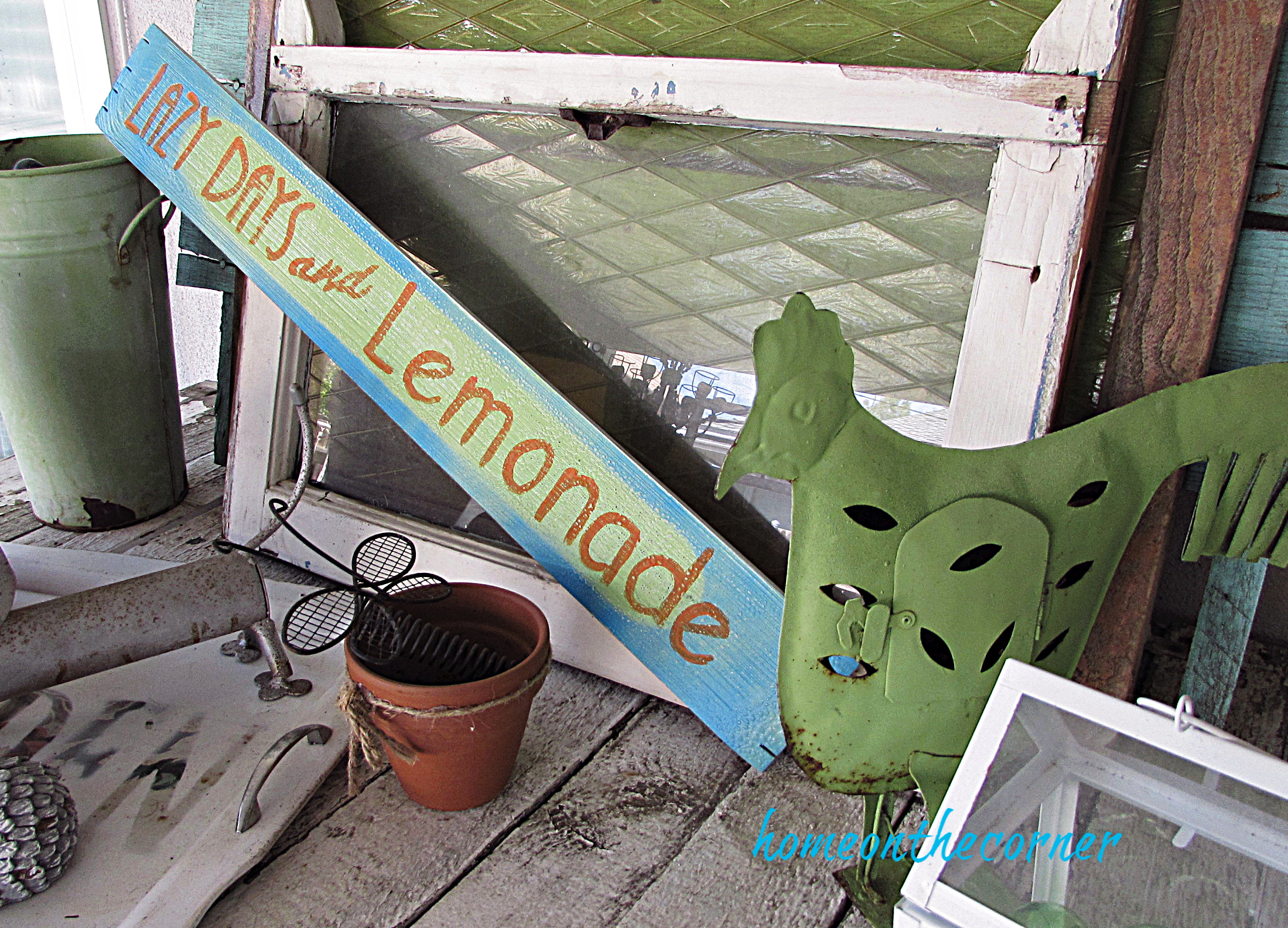 lazy days and lemonade wooden sign and old window