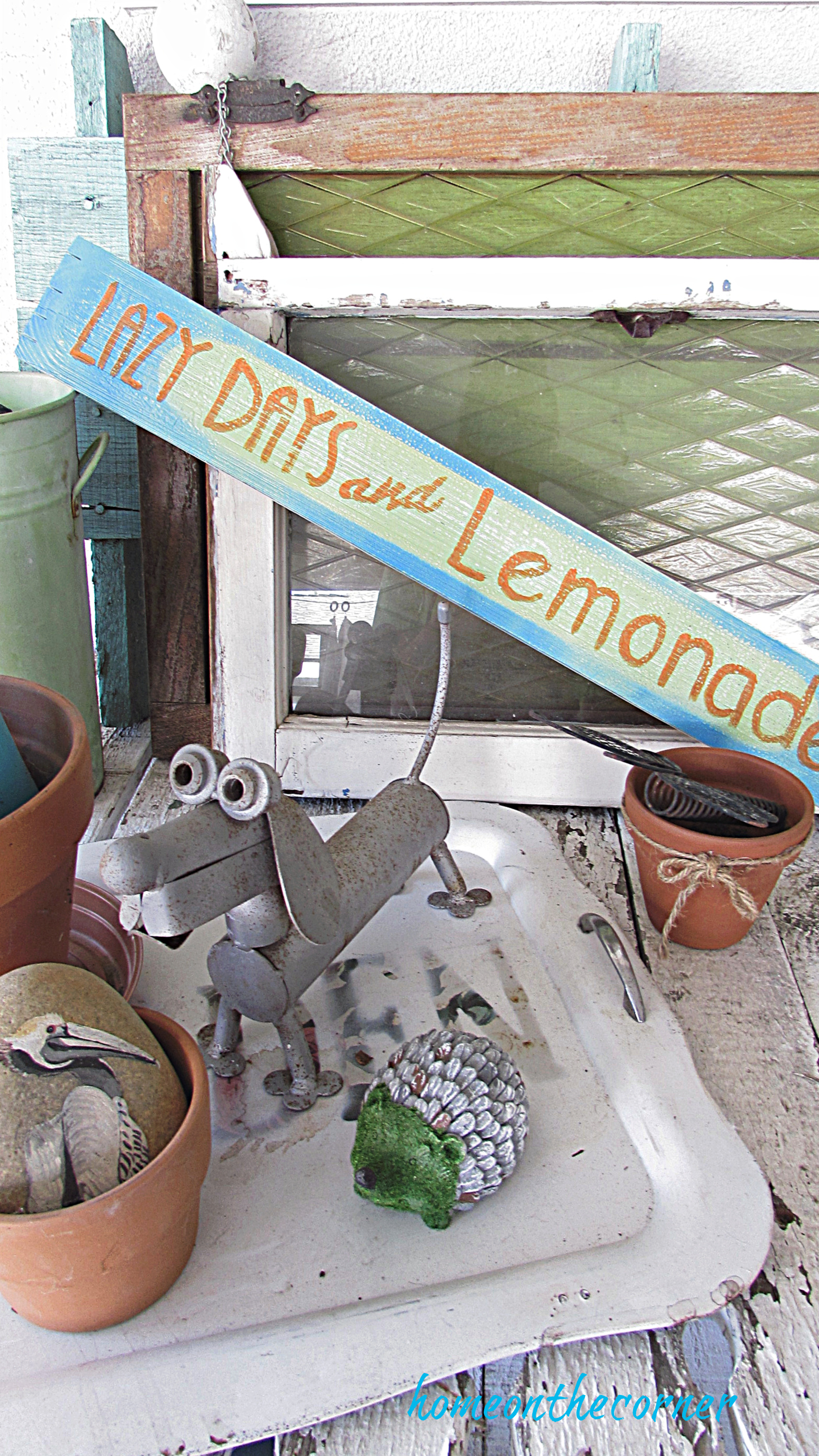 lazy days and lemonade wooden sign patio