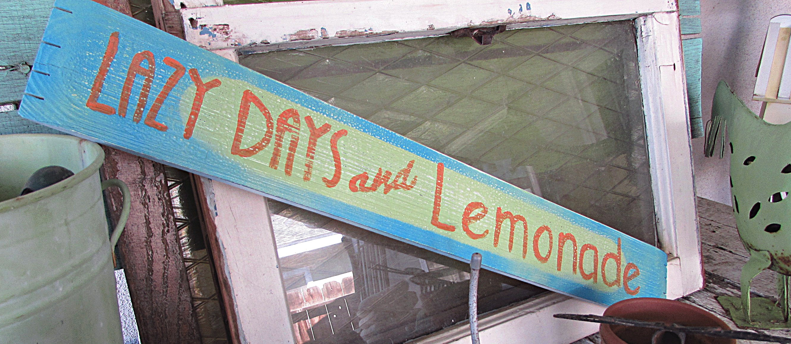 lazy days and lemonade wooden sign potting table