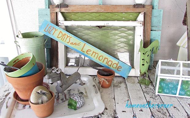 lazy days and lemonade wooden sign vignette