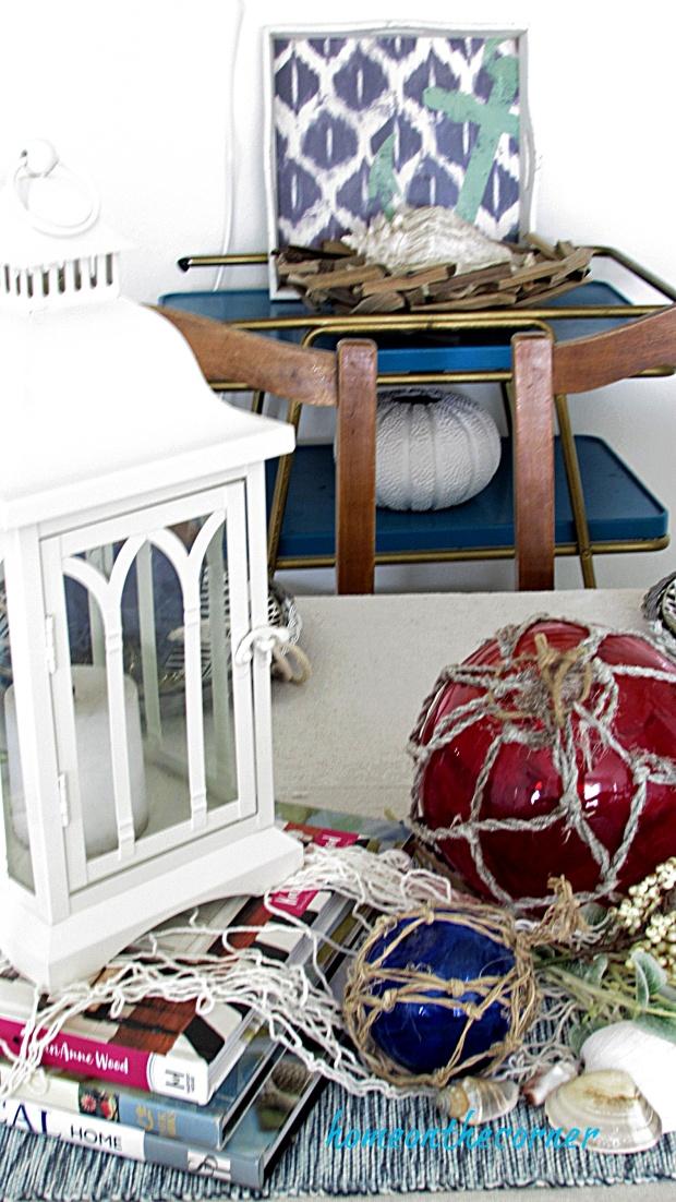coastal dining room lantern, net, glass ball floats