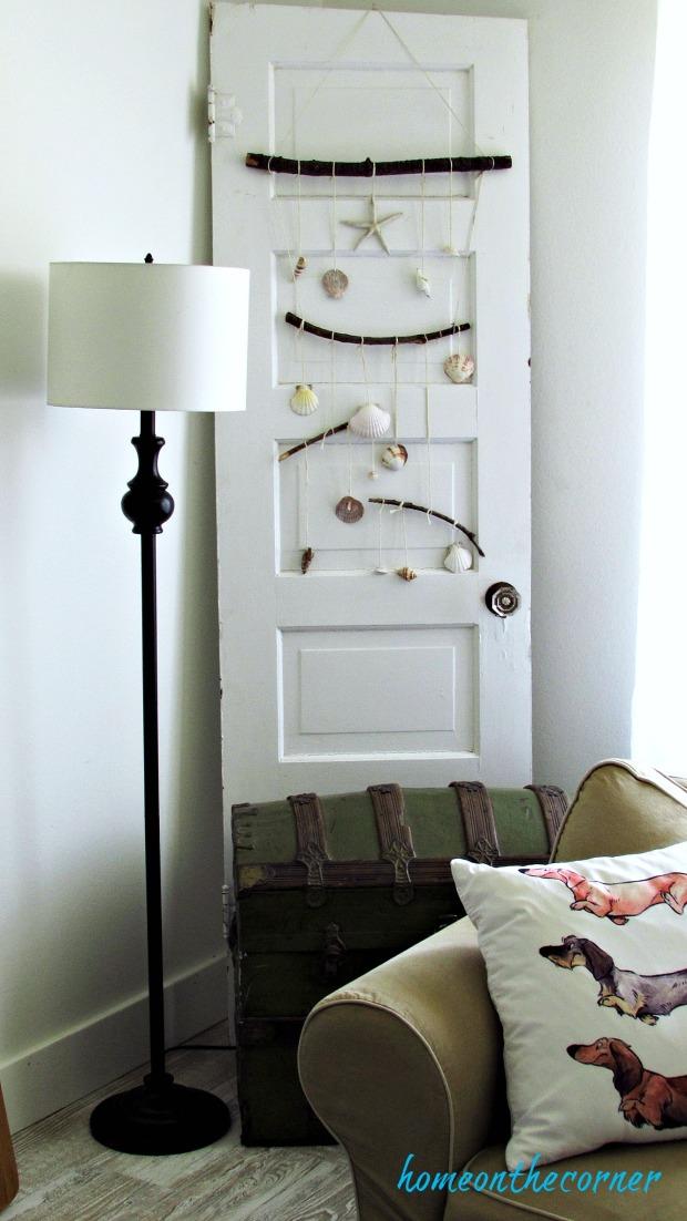 new living room old door with seashells