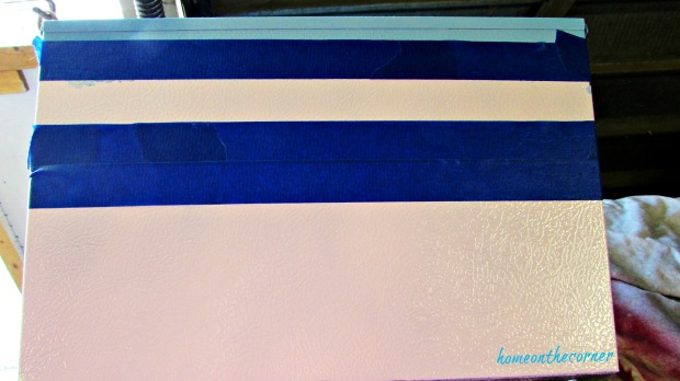 metal box painter tape spray paint stripes