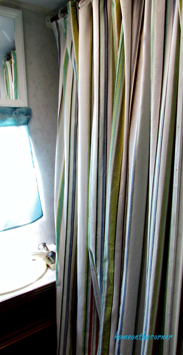 rv makeover bathroom shower curtain