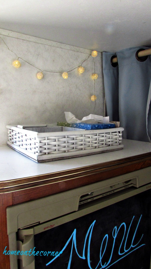 rv makeover hanging lights and basket