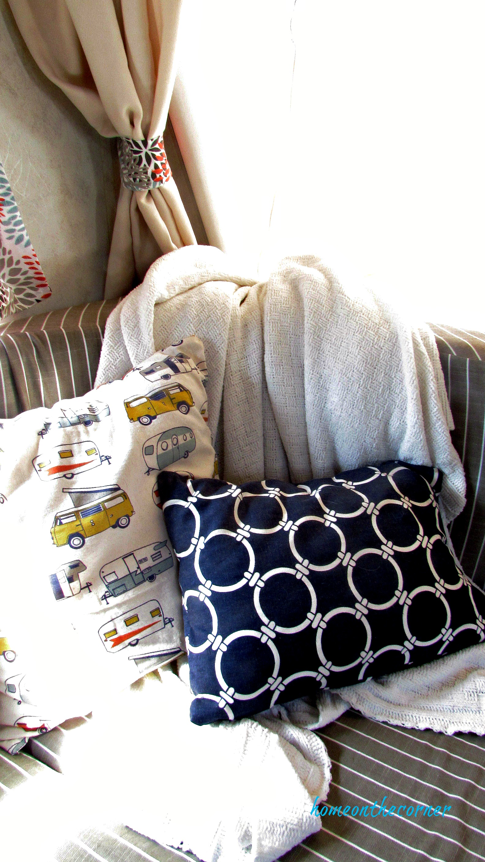 rv makeover navy pillow camp pillow