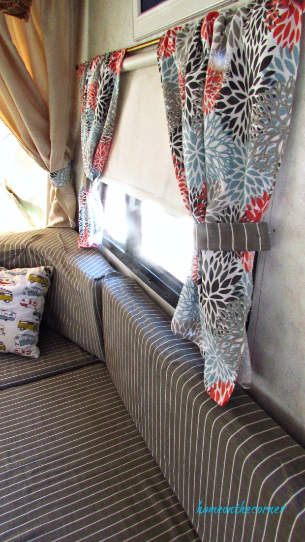 rv makeover new curtains, cushions, pillows