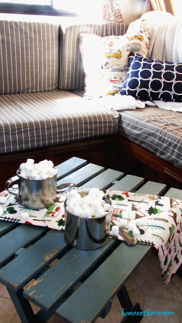 rv makeover small table with hot cocoa and marshmallows