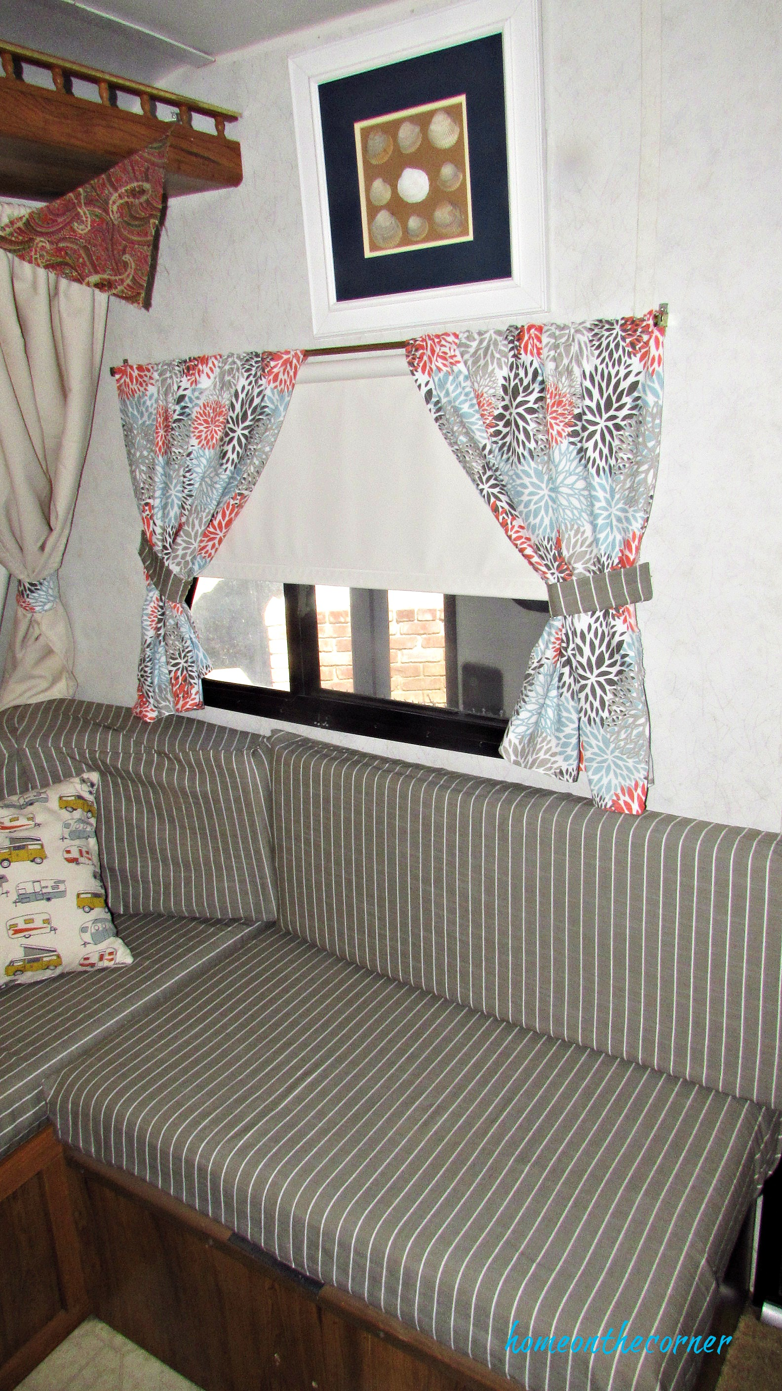 rv makeover striped cushion covers and curtains